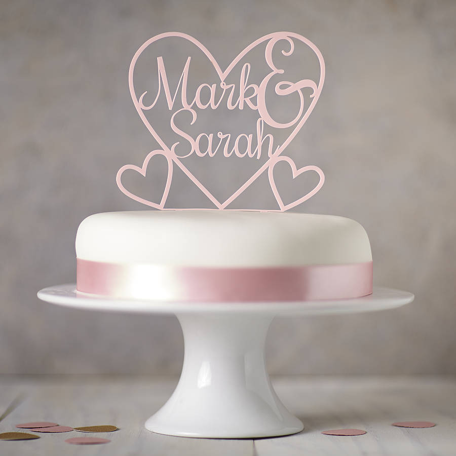Personalised Heart Cake Topper By Sophia Victoria Joy Notonthehighstreet Com