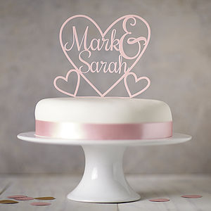 Personalised Heart Cake Topper - cake decoration