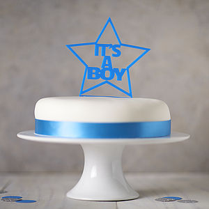 It's A Boy! Gender Reveal Cake Topper - pregnancy announcements