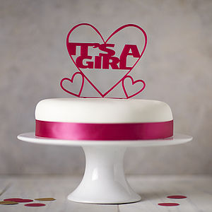 'It's A Girl!' Gender Reveal Cake Topper - pregnancy announcements