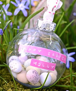 Personalised Easter Egg Filled Bauble - easter decorations