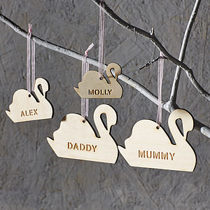 Personalised Swan Family Decorations - tree decorations