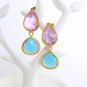 Faceted Glass Double Drop Earrings