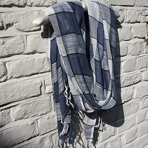 Blue Linen Scarf - hats, scarves & gloves