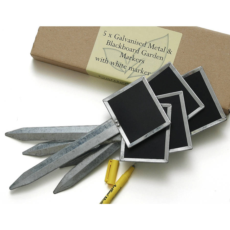 metal and blackboard plant labels with pen by garden gear