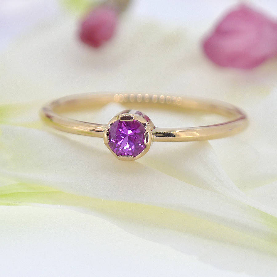 Lilia Nash Jewellery Ethical Pink Sapphire Ring In 18ct Gold