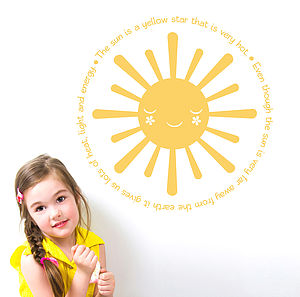 Learning All About The Sun Wall Sticker Decal - home accessories