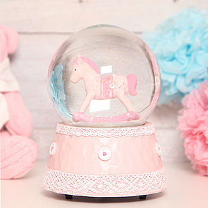 Pink Musical Rocking Horse Glitter Globe Dome