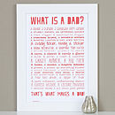'What Is A Dad?' Typographic Poem Print