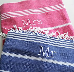 Mrs And Mr Personalised Hamam Beach Towel Set - bathroom