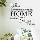 What I Love Most About My Home Wall Sticker
