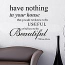 William Morris Wall Quote Sticker