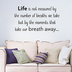 'Life Is Measured' Wall Quote Sticker - decorative accessories