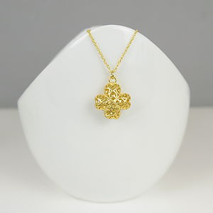 22 K Gold Plated Filigree Cross Necklace - necklaces & pendants