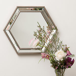 Hexagonal Bevelled Glass Mirror - fireplace accessories