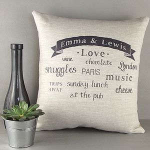 ' Couples Love ' Personalised Cushion