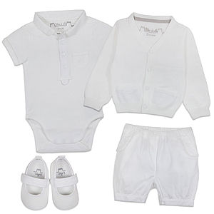 Baby Boy Summer White Christening Outfit - christeningwear