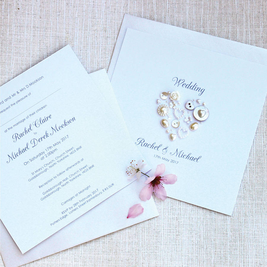 Heart Images For Wedding Invitations: Pearl Heart Personalised Wedding Invitations By Sweet