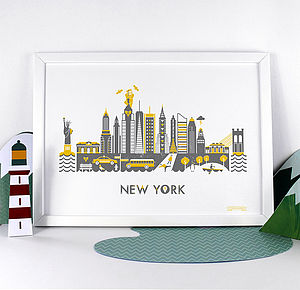 New York Movie Skyline Print - pictures & prints for children