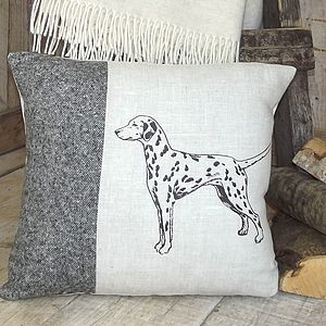 ' Dalmatian ' Linen And Tweed Cushion