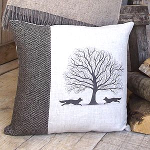 ' Woodland Fox ' Tweed And Linen Cushion - cushions