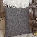 ' Fawn Herringbone ' Lambswool Tweed Cushion