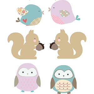 Owls, Birds, Squirrels Fabric Wall Stickers - bedroom