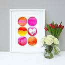 Personalised Love Circles Wedding Wall Art Print