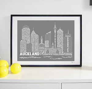 Auckland Skyline Typography Print - shop by price