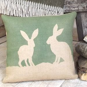 ' Country Hare ' Hessian Cushion - cushions