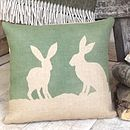 Thumb rustic hare hessian cushion