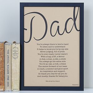 'My Dad' Poem Vintage Style Print - prints & art sale