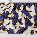 crystallised violet flower petals, organic coconut flakes, perfectly finished with edible gold petals