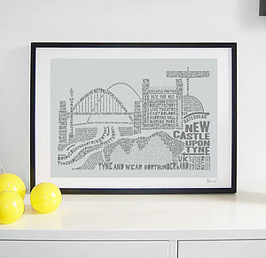 Newcastle Skyline Typography Print - posters & prints