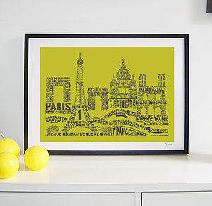 Paris Skyline Typography Print