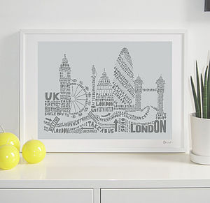 London Skyline Typography Print - prints for christmas
