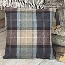 ' Chocolate And Petrol ' Tweed Cushion