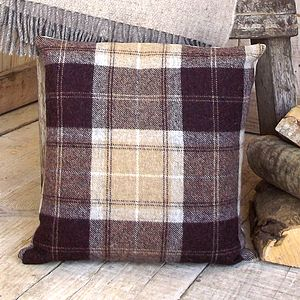 ' Chocolate And Sand ' Tweed Cushion