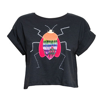 Embroidered Beetle Cropped T Shirt