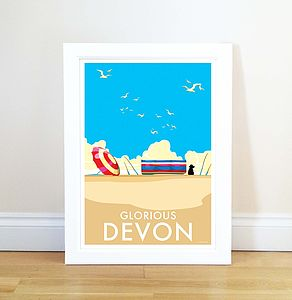 Glorious Devon Vintage Style Seaside Poster