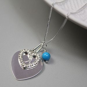 Crystal Heart Necklace With Birthstones