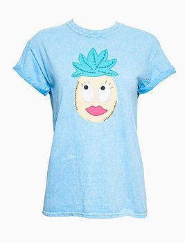 Cartoon Pineapple Applique T Shirt