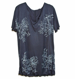 Charcoal Floral Hand Printed Tee - women's fashion