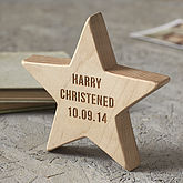 Personalised Christening Wooden Star Keepsake - gifts