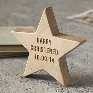 Personalised Christening Wooden Star Keepsake - personalised
