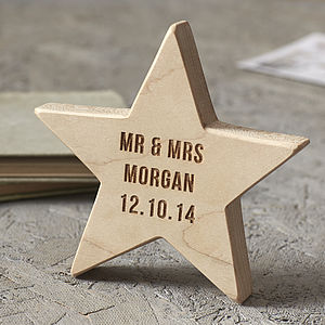 Personalised Wedding Keepsake Wooden Star - token gifts