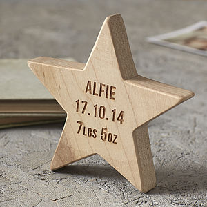 Personalised Baby Keepsake Wooden Star - stocking fillers under £15