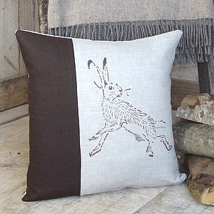 ' Chocolate Hare ' Linen Cushion