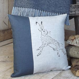 ' Charcoal Hare ' Irish Linen Cushion - cushions