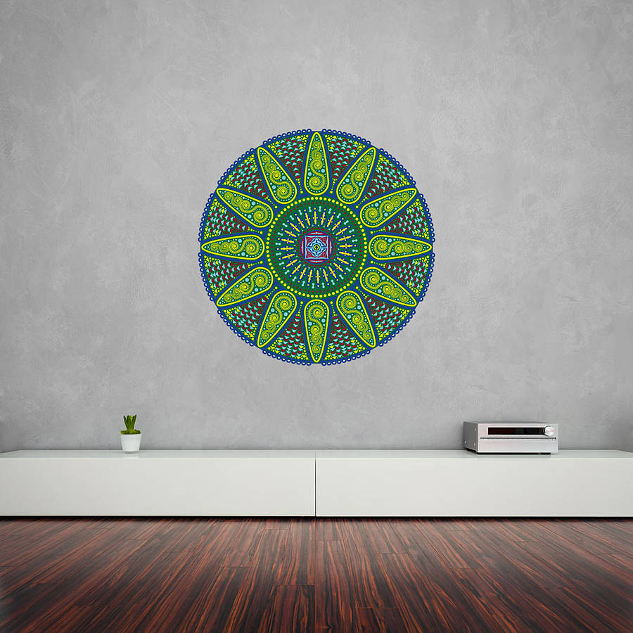 geometric sunshine mandala wall art sticker by vinyl
